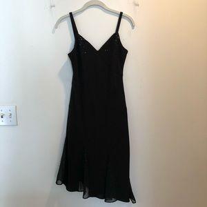 Evan Picone Dresses - Black beaded asymmetrical evening dress